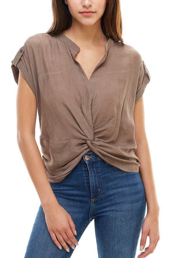 Crinkle Fabric Twist Front Blouse