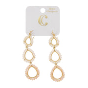 "3"" Bead Graduated Linear Teardrop Earrings - Charming Charlie"