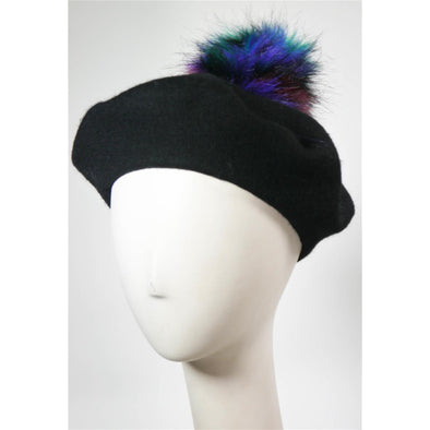 Beret W Multi Color Faux Fur Pom