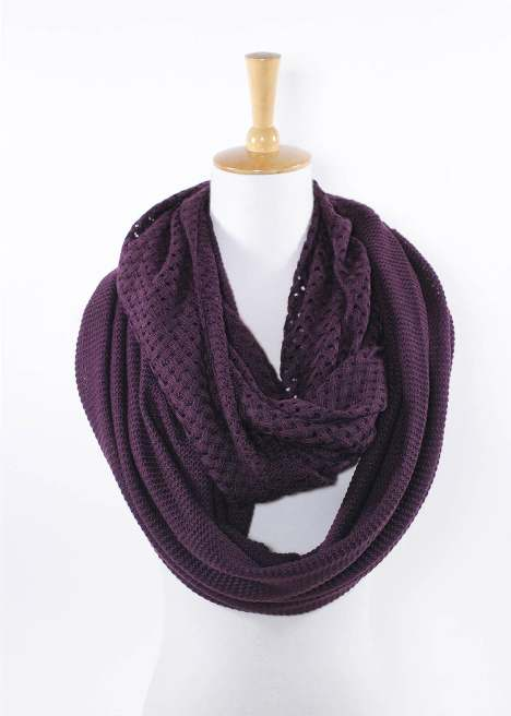 Ladies Mixed Knit Infinity Scarf