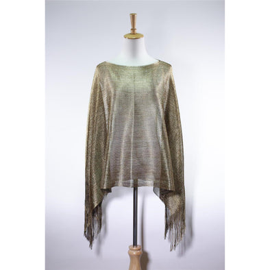 Ladies Holiday Glitz Metallic Poncho