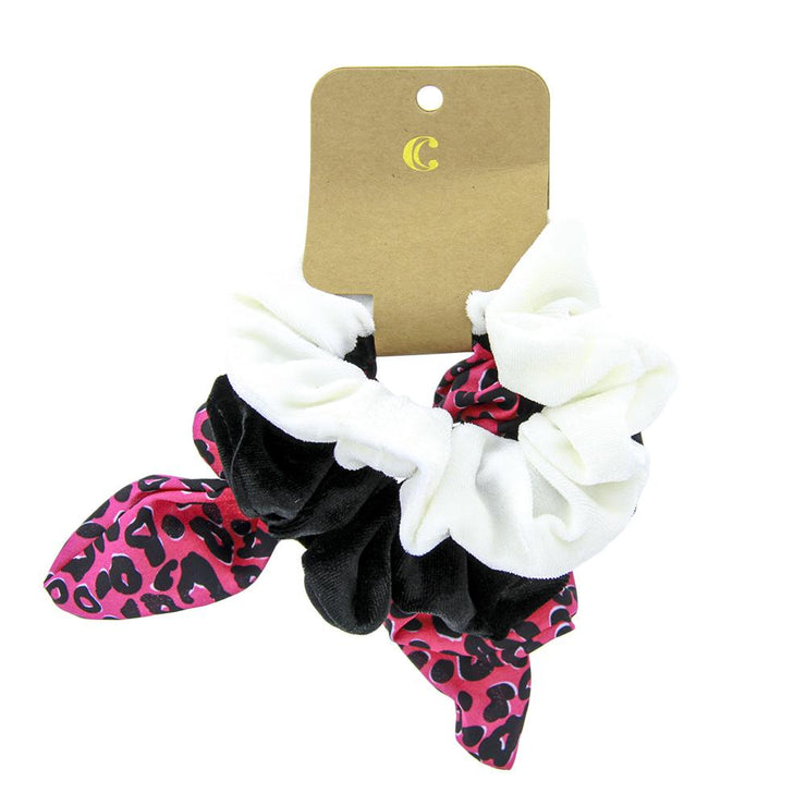 Styling Velvet Hair Scrunchies - Pack of 3, Pink Leopard