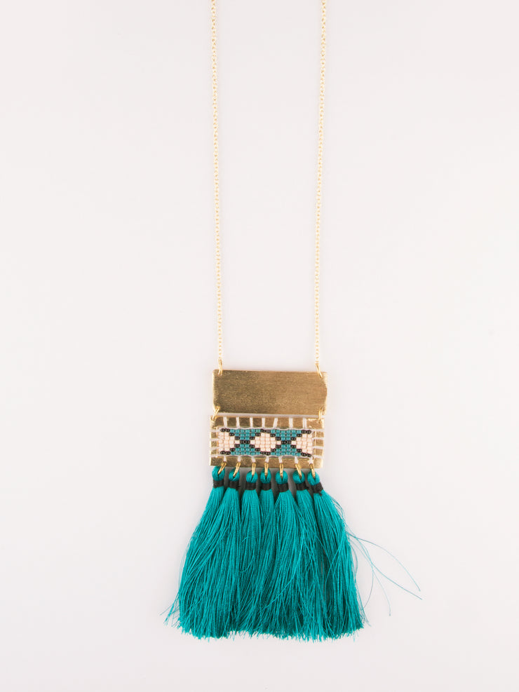 Boho Tassel Necklace Teal