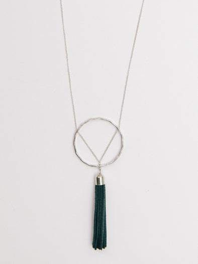 Ellaria Leather Tassel Necklace, Grey