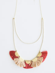 Raffia Fan Necklace Coral