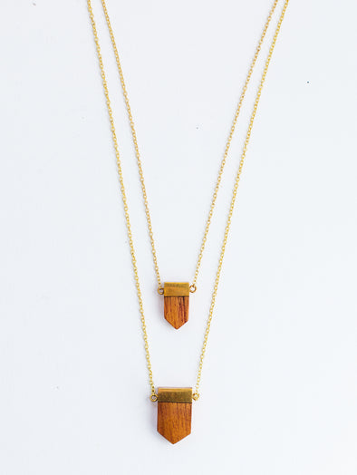 Wooden Emblem Necklace Gold