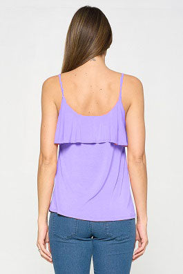 Sleeveless Side Ruffle Knit Top