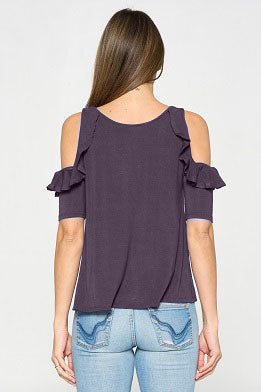 Cold Shoulder Ruffle Side Knit Top