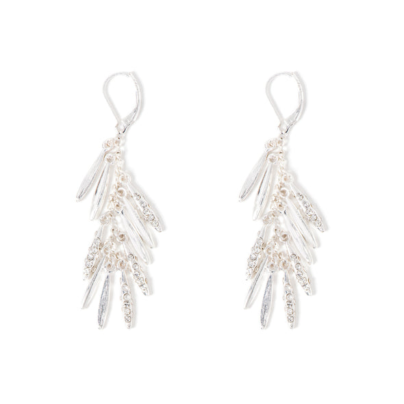 NINE WEST LRG SHAKY DROP CRYSTAL EARRING LEVER BACK CLASP