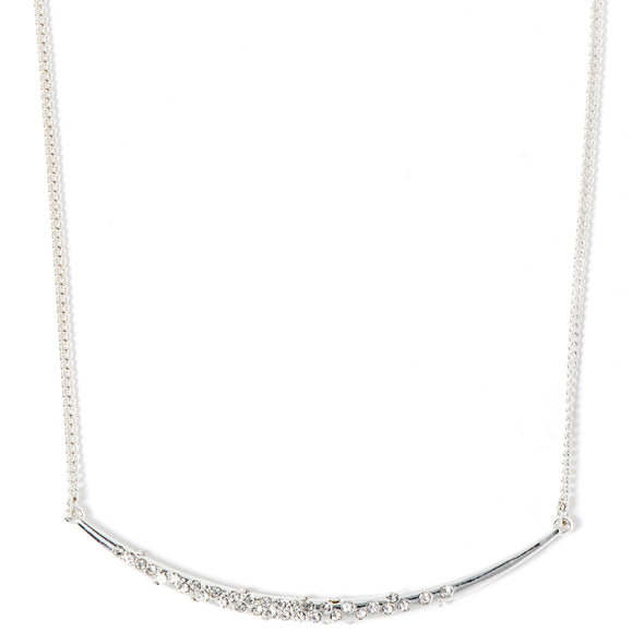NINE WEST SILVER CURVE PENDNT CRYSTAL DETAIL