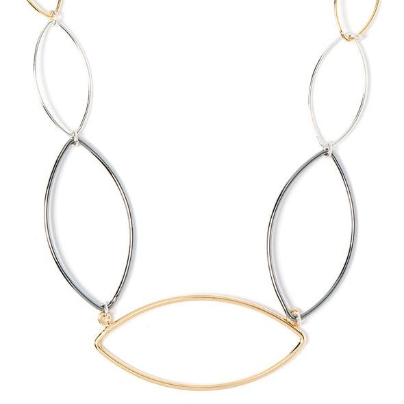 NINE WEST TRITONE 16IN LRG POINTED HOOP NECKLACE