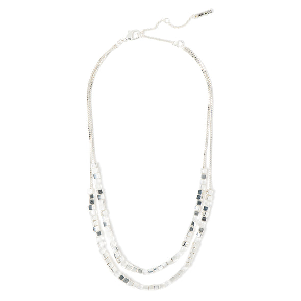 NINE WEST SILVER 16IN MULTIROW BEADED NECKLACE