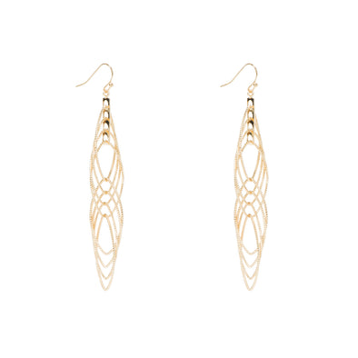 NINE WEST DS GOLD MULTI LAYER POINTED OVER DROP EARRINGS