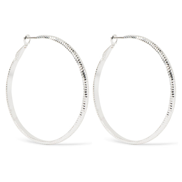 NINE WEST DS SILVER RIDGED 60MM HOOP