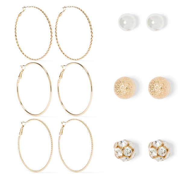 NINE WEST DS GOLD 6 PC HOOP AND FIREBALL STUD SET