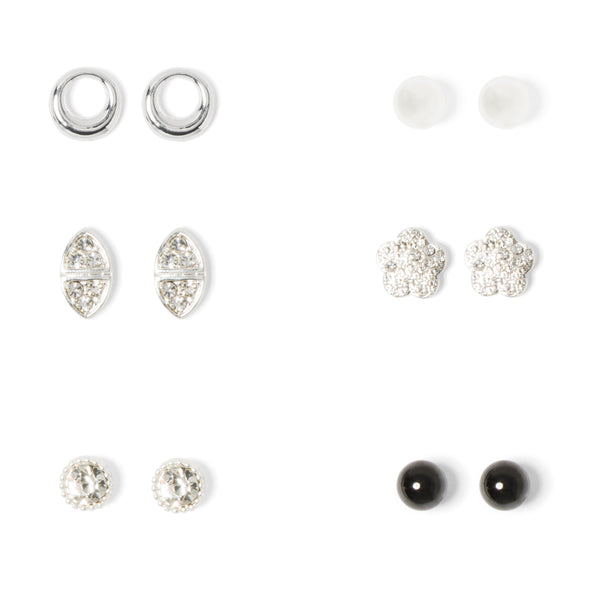 NINE WEST DS SILVER 6 PC DAISY AND ROUND STUD SET