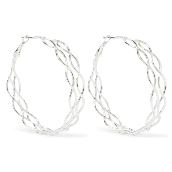 NINE WEST DS SILVER 60MM OVALCHAIN HOOP