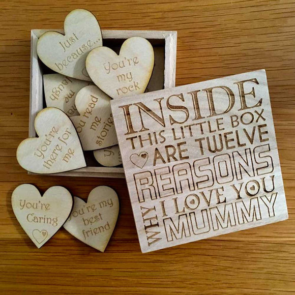 12 Reasons Why I Love You Mummy Gift Message Box