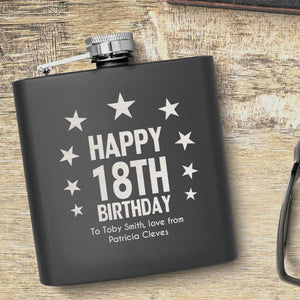 18th Birthday Stars Design Personalised Hip Flask