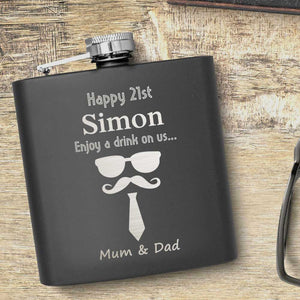 21st Birthday Glasses Tash And Tie Motif Hip Flask