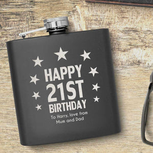 21st Birthday Stars Design Personalised Hip Flask