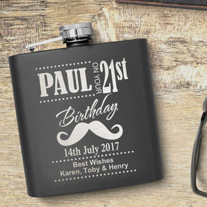 21st Birthday Moustache Motif Personalised Hip Flask