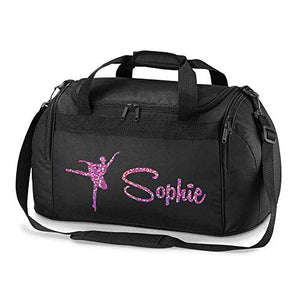 Personalised School Dance Gymnastic Shoulder Bag Holdall with Pink Sparkle Ballerina Motif