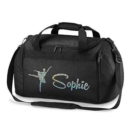 Personalised School Dance Gymnastic Shoulder Bag Holdall with Silver Sparkle Ballerina Motif