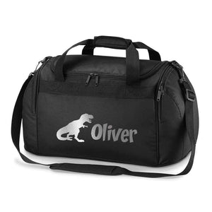 Personalised School Dance Gymnastic Shoulder Bag Holdall with Silver Dinosaur Motif