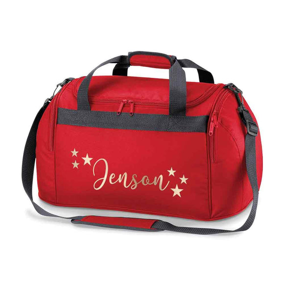 Personalised School Dance Gymnastic Shoulder Bag Holdall with Gold Stars Motif