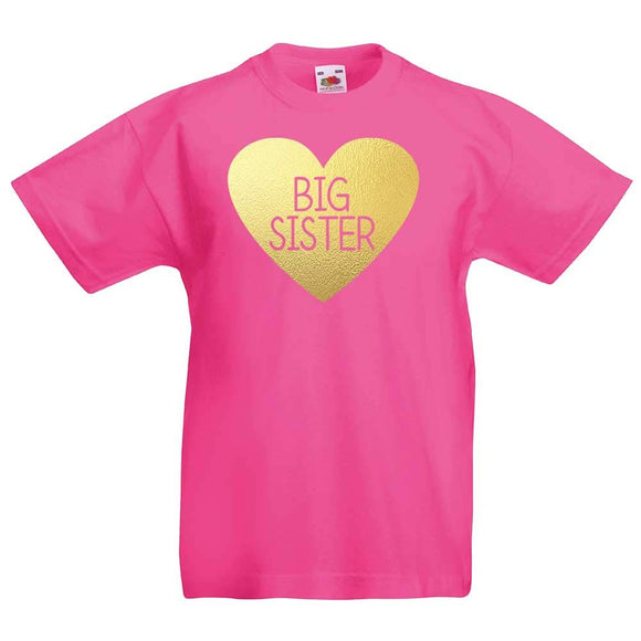 Girls Fun Big Sister Gold Heart Motif Fuchsia T-Shirt
