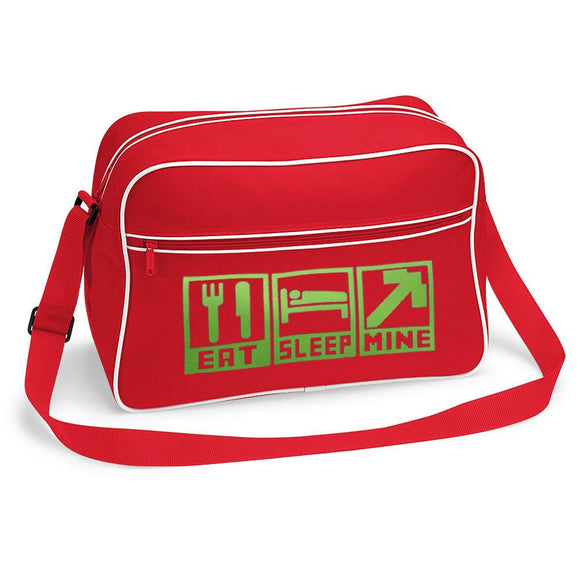 Eat Sleep Mine Retro Style Minecraft Inspired Gamers Shoulder Bag