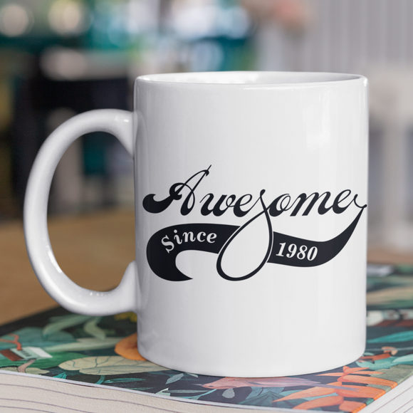 Awesome Since Year Of Birth Fun Varsity Style Text Birthday Mug