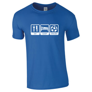 Eat Sleep Chelsea Adult Size Football Supporter T-Shirt