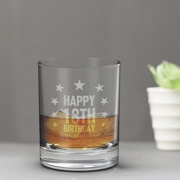 18th Birthday Whisky Glass Tumbler