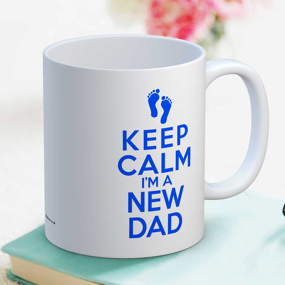Keep Calm I'm a New Dad Blue Motif Mug Gift For Dad