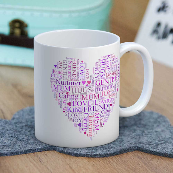 Mum Words Heart Mug