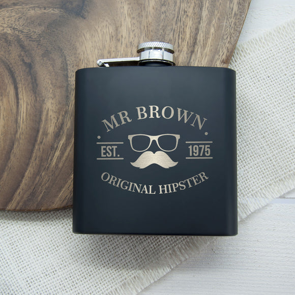 Personalised Original Hipster Hip Flask