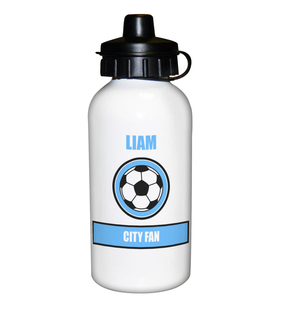 Football Fan Personalised Light Blue Design Drinks Bottle