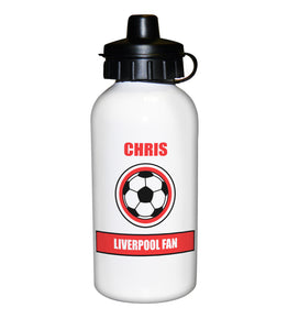 Football Fan Personalised Red Design Drinks Bottle