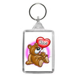 Personalised Teddy Bear and Balloon Motif Keyring