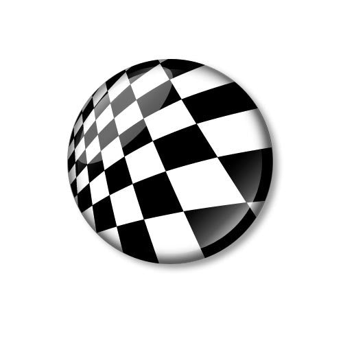 Black and White Checked 25mm Pin Backed Button Badge