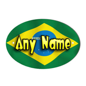 Brazilian Flag Design Personalised Door Name Plaque