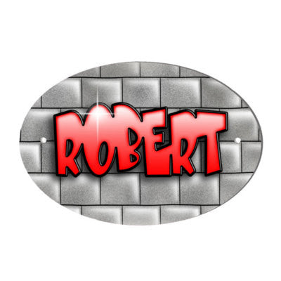 Brick Wall Design Personalised Red Text Door Plaque