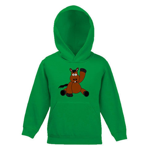 Fun Cartoon Horse Waving Childs Hooded Top