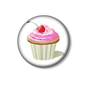 Cupcake With Cherry 25mm Pin Backed Button Badge