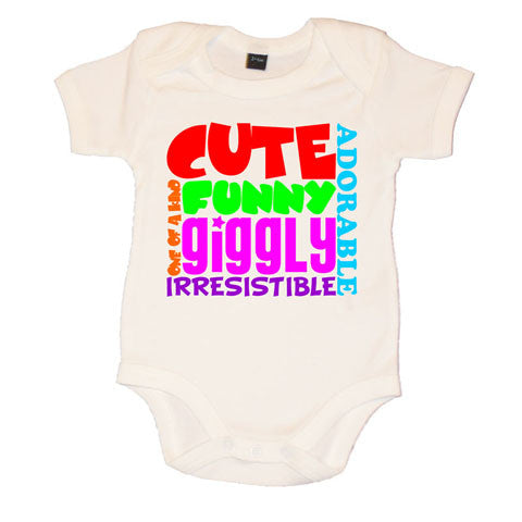 Cute Funny Giggly Motif Baby Vest