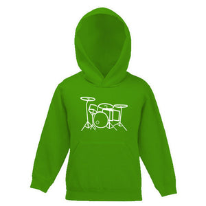 Drum Kit Outline Motif Childs Hooded Top