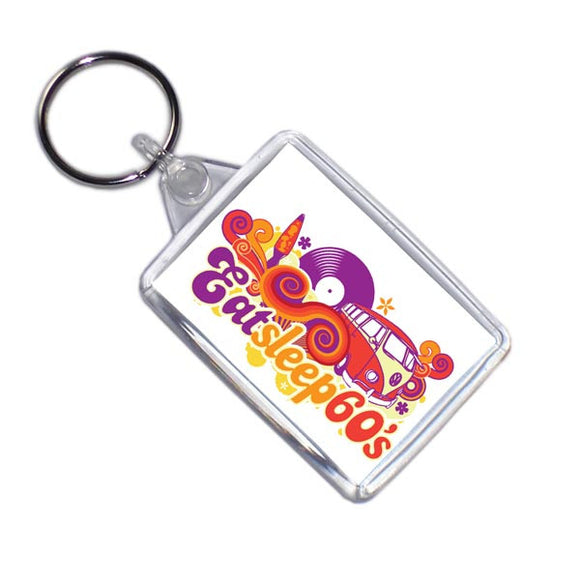 Eat Sleep 60's Retro Style Key Ring