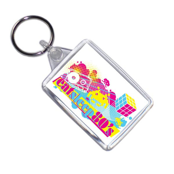Eat Sleep 80's Retro Style Key Ring
